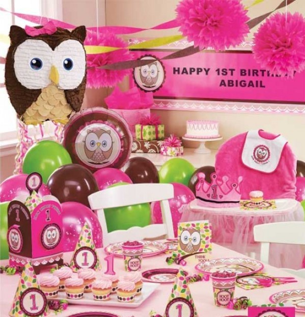 girls bday party ; owl-girls-first-birthday-party-theme-e1438209904898