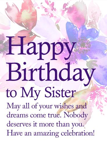 greeting cards for my sister birthday ; happy-birthday-greeting-card-for-my-sister-may-your-dream-come-true-happy-birthday-wishes-card-for-sister-template