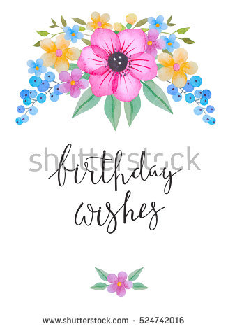 greeting words for birthday wishes ; stock-photo-greeting-card-with-watercolor-flowers-and-the-words-birthday-wishes-hand-drawn-illustration-of-524742016