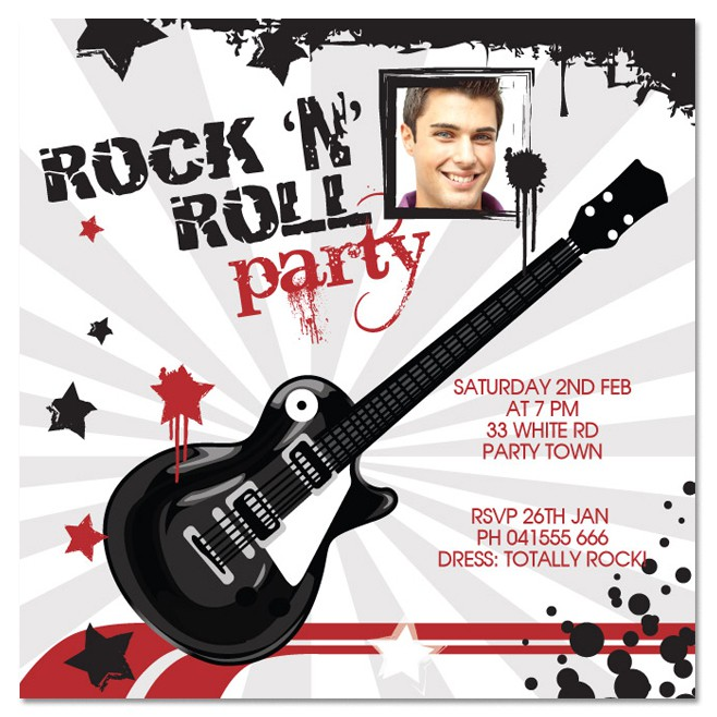 guitar birthday invitation template ; rock-and-roll