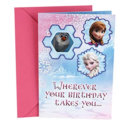hallmark frozen birthday card ; 71HzLpzM4NL