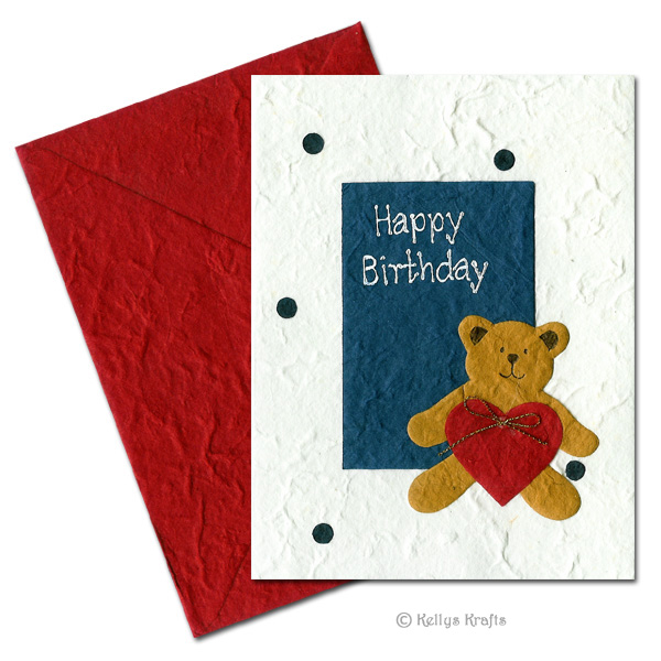 hand make birthday card ; HC-1002_mulberry_card_teddybear