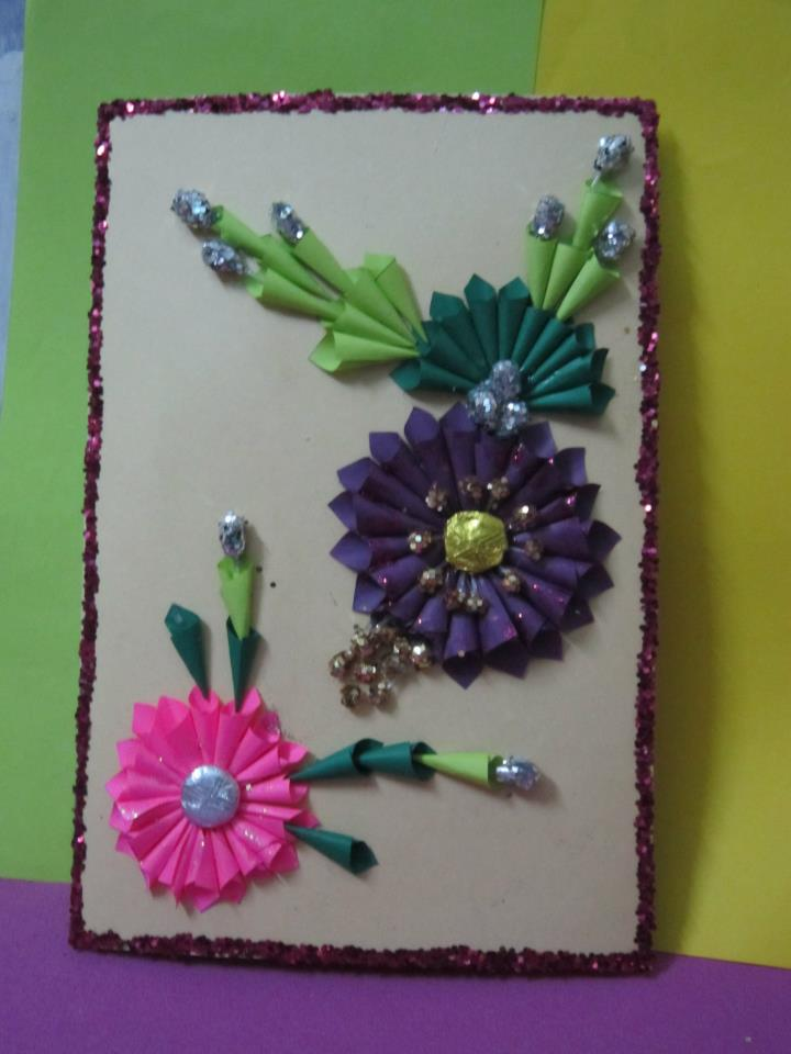 hand make birthday card ; how-to-make-handmade-greeting-card-in-flower-style
