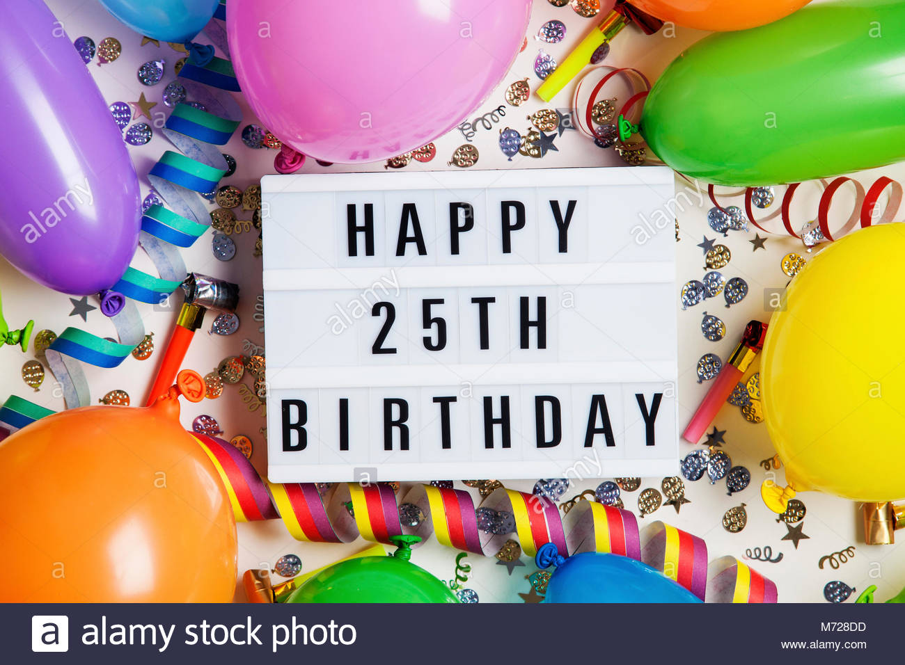 happy 25th birthday images ; happy-25th-birthday-celebration-message-on-a-lightbox-with-balloons-M728DD