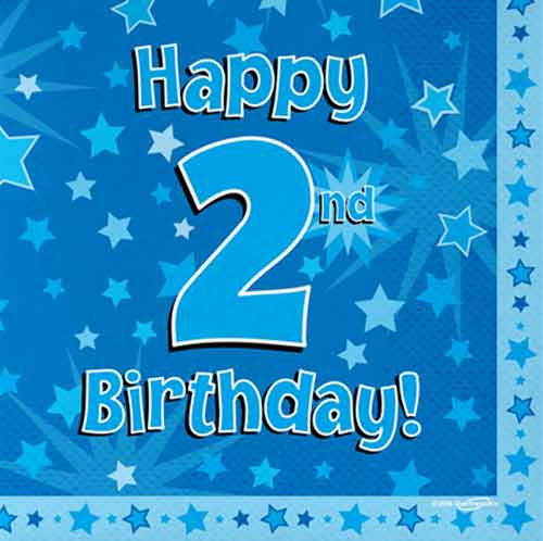 happy 2nd birthday ; 2nd-Blue-Star-Napkin