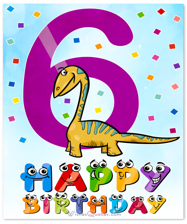 happy 6th birthday poem ; 6th-birthday-dinosaur-card