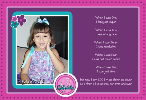 happy 6th birthday poem ; gabypoem