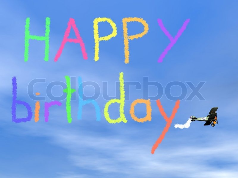 happy birthday airplane message ; 10992612-happy-birthday-message-from-biplan-smoke-3d-render
