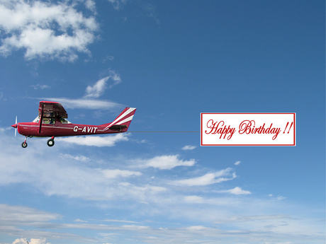 happy birthday airplane message ; blue_sky_AIRPLANE_RED_NIEUW_BIRTHDAY