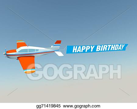 happy birthday airplane message ; plane-with-happy-birthday-banner_gg71419845