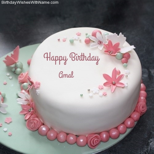 happy birthday amal ; amal-name-cake