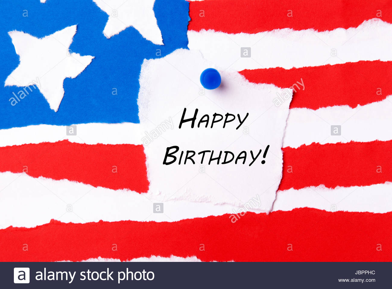 happy birthday american flag ; note-with-happy-birthday-on-an-american-flag-background-JBPPHC