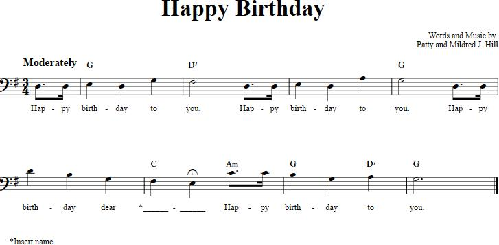 happy birthday bass ; happy-birthday-bass-clef