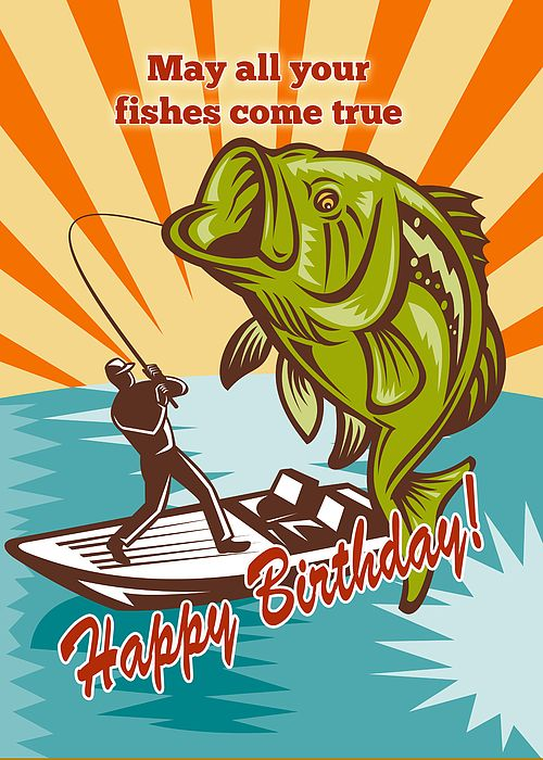 happy birthday bass ; happy-birthday-quotes-fly-fisherman-on-boat-catching-largemouth-bass-by-aloysius-patrimonio
