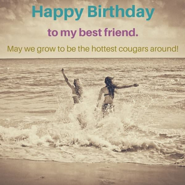 happy birthday best friend funny ; Funny-birthday-wish-for-a-female-friend-with-smart-wish-on-image-with-two-girls-entering-the-sea-600x600