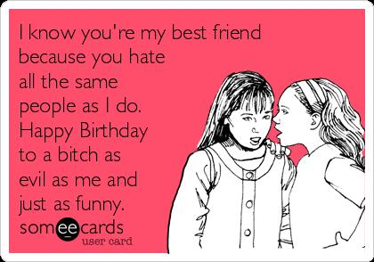 happy birthday best friend funny ; i-know-youre-my-best-friend-because-you-hate-all-the-same-people-as-i-do-happy-birthday-to-a-bitch-as-evil-as-me-and-just-as-funny--1f404