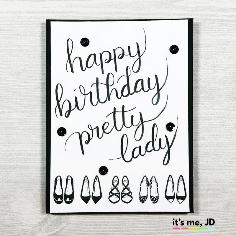 happy birthday black version ; IG-hand-lettered-happy-birthday-black-white-shoes-card