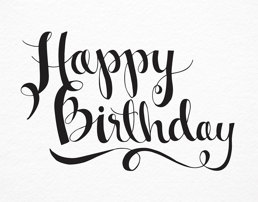 happy birthday black version ; NINTHLETTERPRESS107