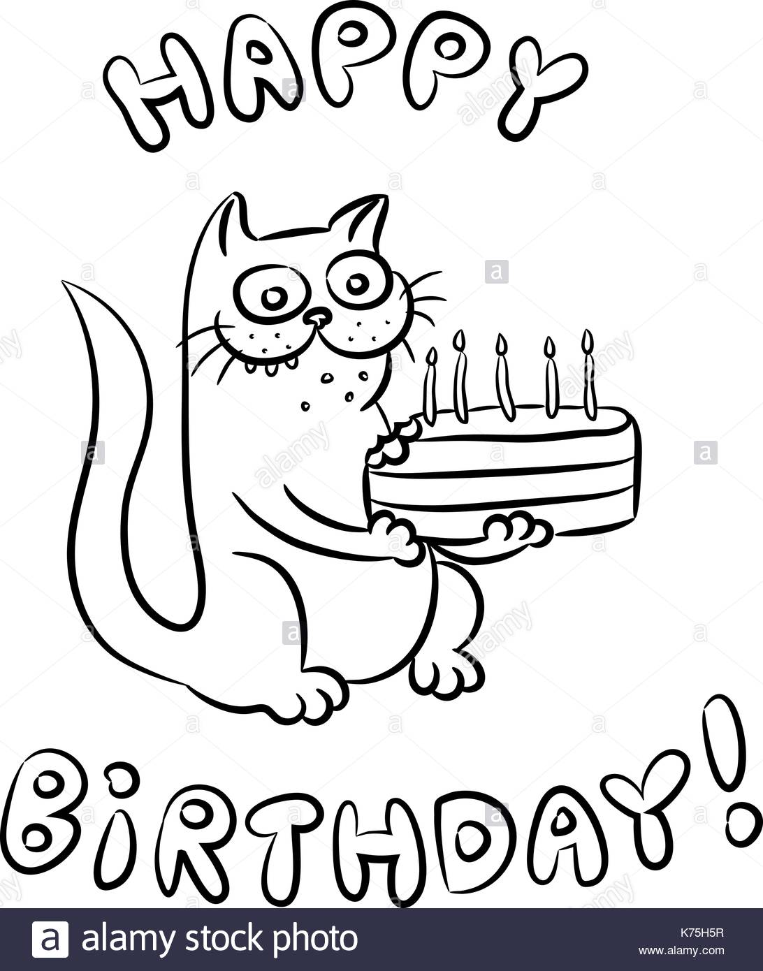 happy birthday black version ; cat-congratulates-happy-birthday-and-present-a-cake-vector-illustration-K75H5R