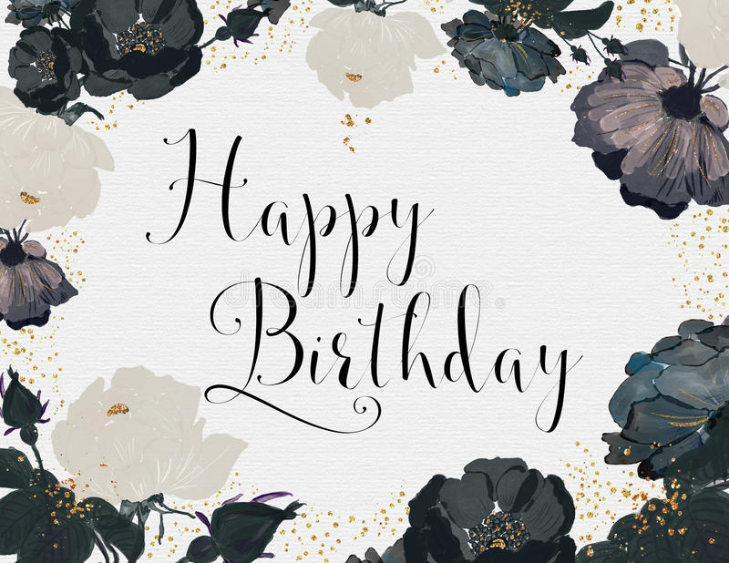 happy birthday black version ; happy-birthday-card-black-white-roses-gold-glitter-65487951