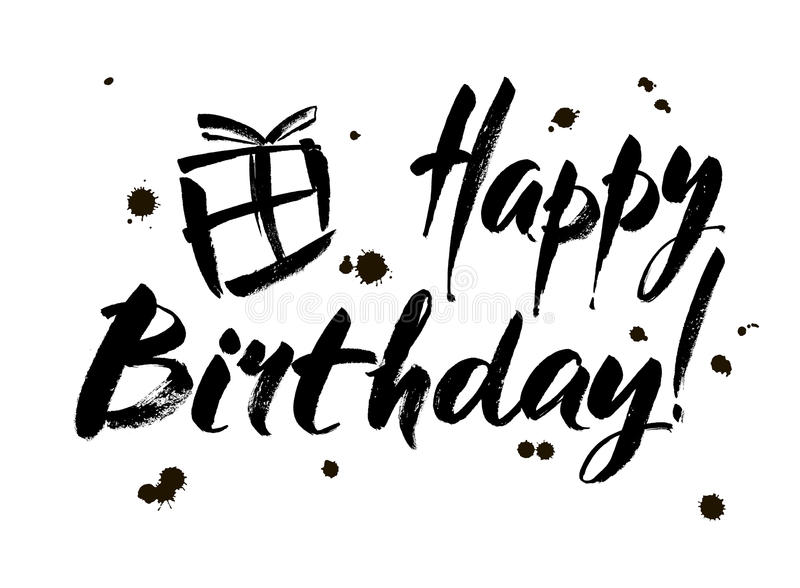 happy birthday black version ; happy-birthday-inscription-greeting-card-calligraphy-hand-drawn-design-black-white-usable-as-photo-overlay-82121942