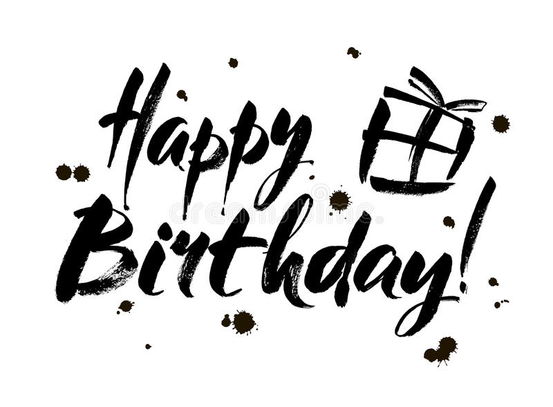 happy birthday black version ; happy-birthday-inscription-greeting-card-calligraphy-hand-drawn-design-black-white-usable-as-photo-overlay-82129723