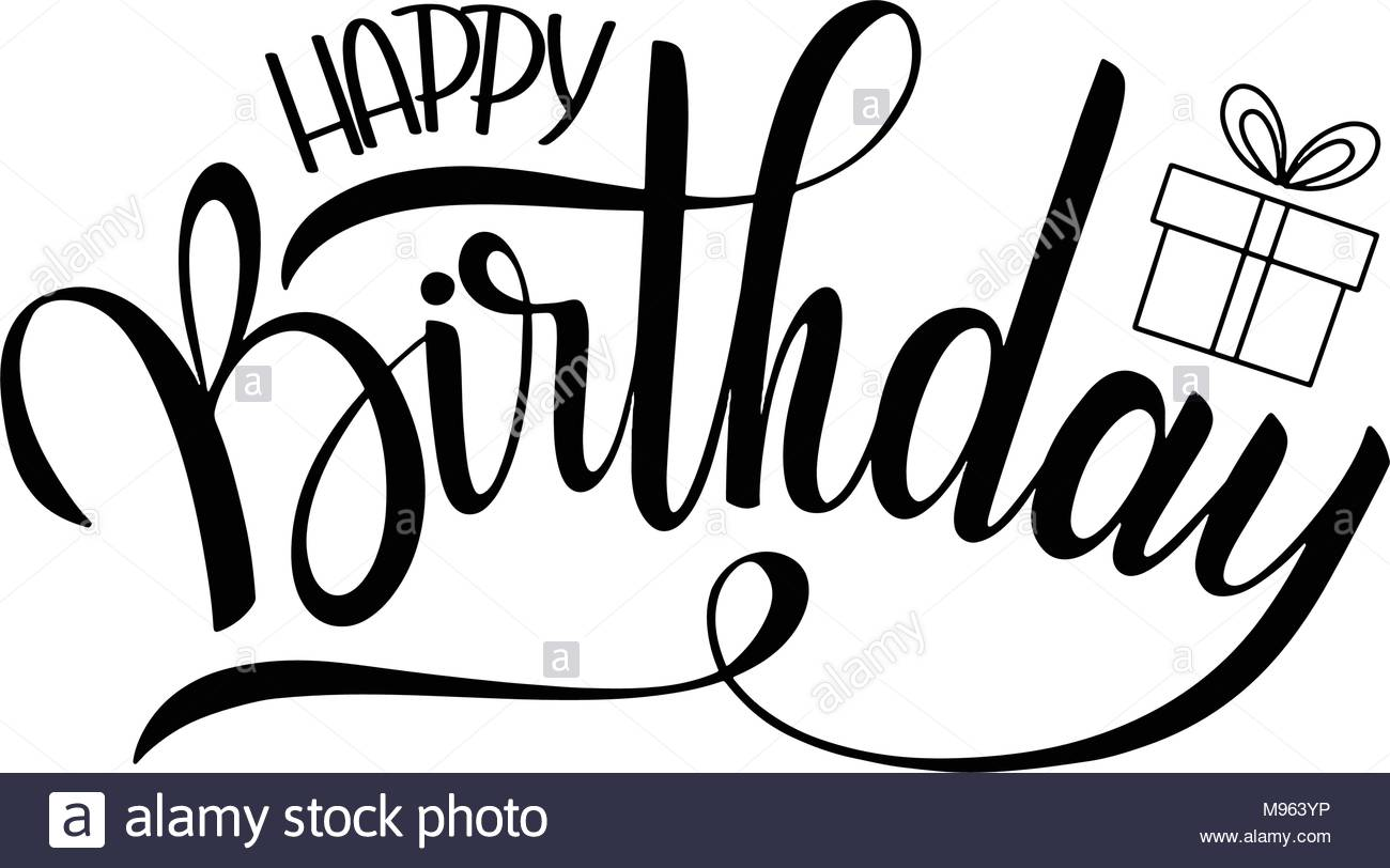 happy birthday black version ; happy-birthday-lettering-holiday-text-and-decorations-greeting-card-and-poster-M963YP