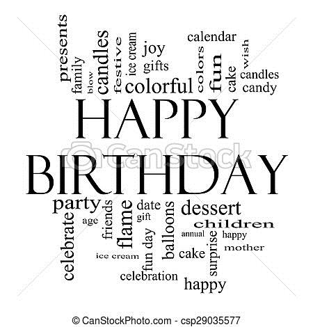 happy birthday black version ; happy-birthday-word-cloud-concept-in-picture_csp29035577