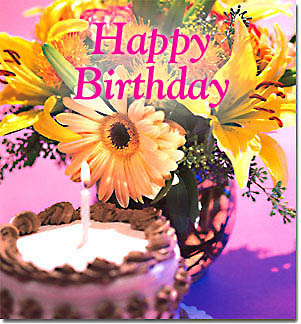 happy birthday card flowers and cake ; card5