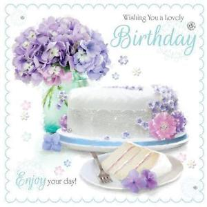happy birthday card flowers and cake ; s-l300