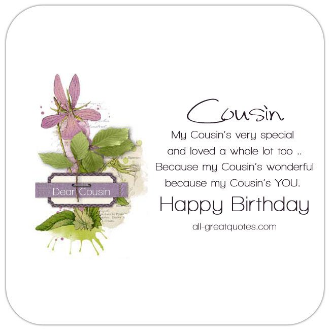 Happy Birthday Card For My Cousin Cute