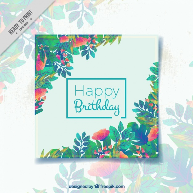 happy birthday card freepik ; happy-birthday-card-with-leaves-in-different-colors_23-2147572724