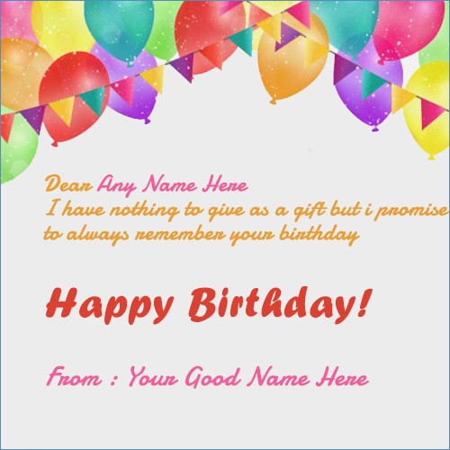 Happy Birthday Card With Name And Photo Edit Greeting