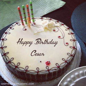 happy birthday cesar ; candles-decorated-happy-birthday-cake-for-Cesar