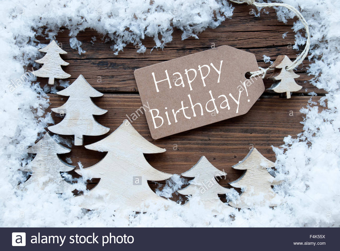 happy birthday christmas ; label-christmas-trees-and-snow-happy-birthday-F4K55X