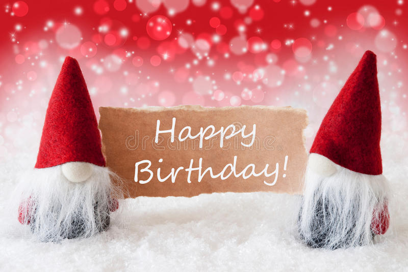 happy birthday christmas ; red-christmassy-gnomes-card-text-happy-birthday-christmas-greeting-two-sparkling-bokeh-background-snow-english-81076402