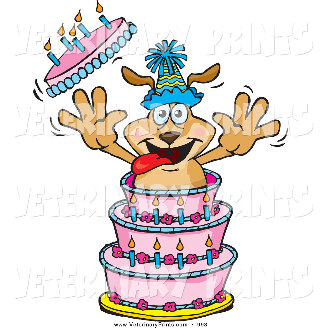 happy birthday clip art with dogs ; dog-birthday-clipart-art-print-of-a-cartoon-pet-dog-bursting-out-of-a-birthday-cake-by-dennis-holmes-designs-998