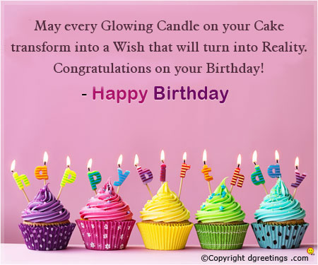 happy birthday cupcake message ; glowing-candle-card