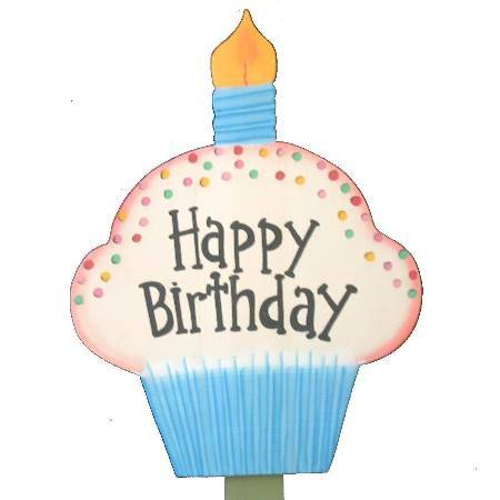 happy birthday cupcake sign ; e00029b