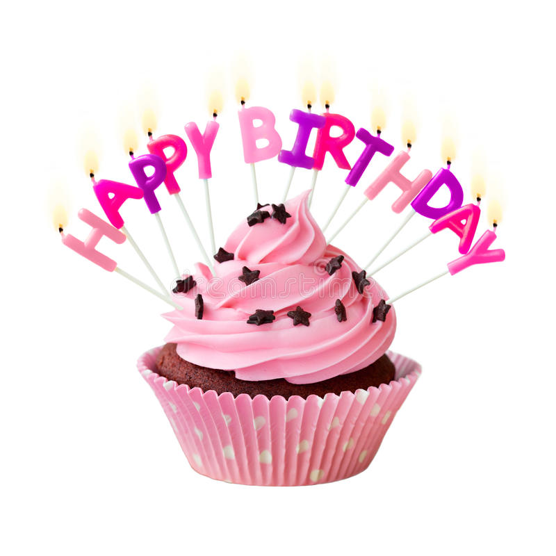 happy birthday cupcake sign ; happy-birthday-cupcake-pink-decorated-candles-49137969