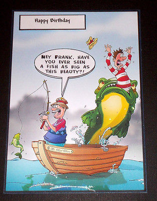 happy birthday fisherman card ; Handmade-Greeting-Card-3D-Humorous-Birthday-Card-For