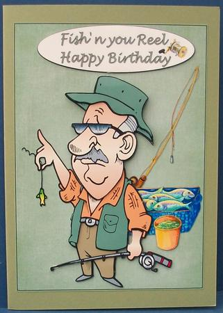happy birthday fisherman card ; photo317946