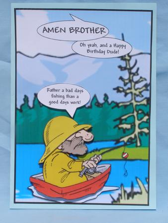 happy birthday fisherman card ; photo548777