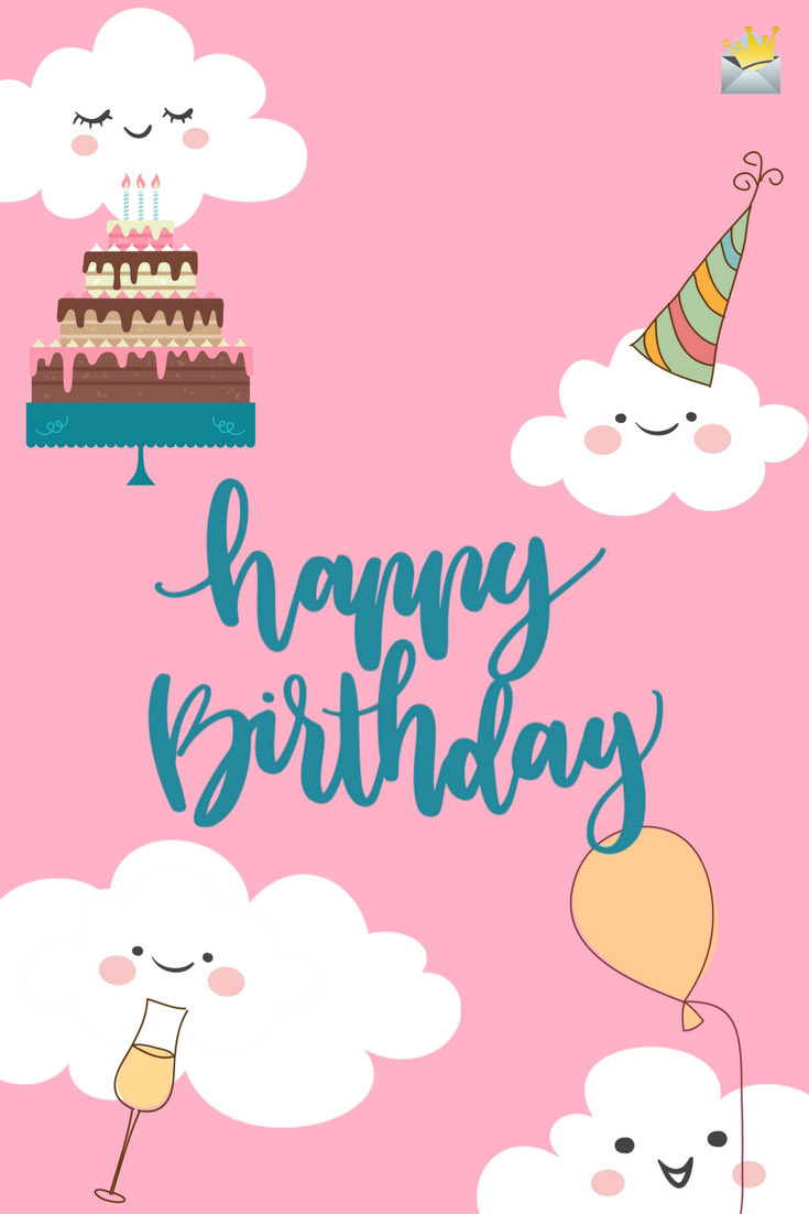 happy birthday gorgeous message ; Cute-birthday-Message-Pink-Bacground-with-clouds