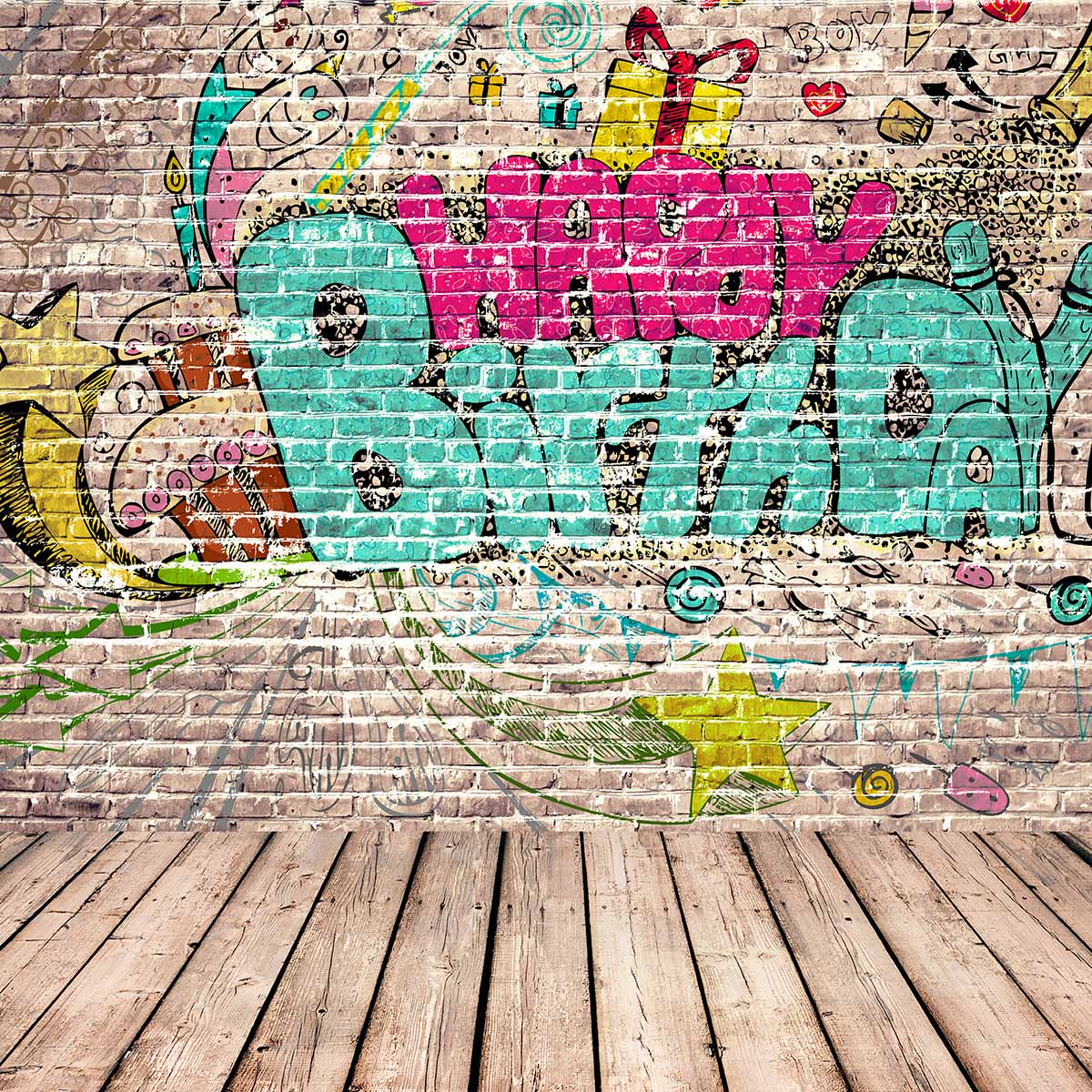 happy birthday graffiti ; Allenjoy-photography-background-store-Graffiti-wall-theme-backdrop-Happy-Birthday-and-cute-pattern-background-New-Arrivals