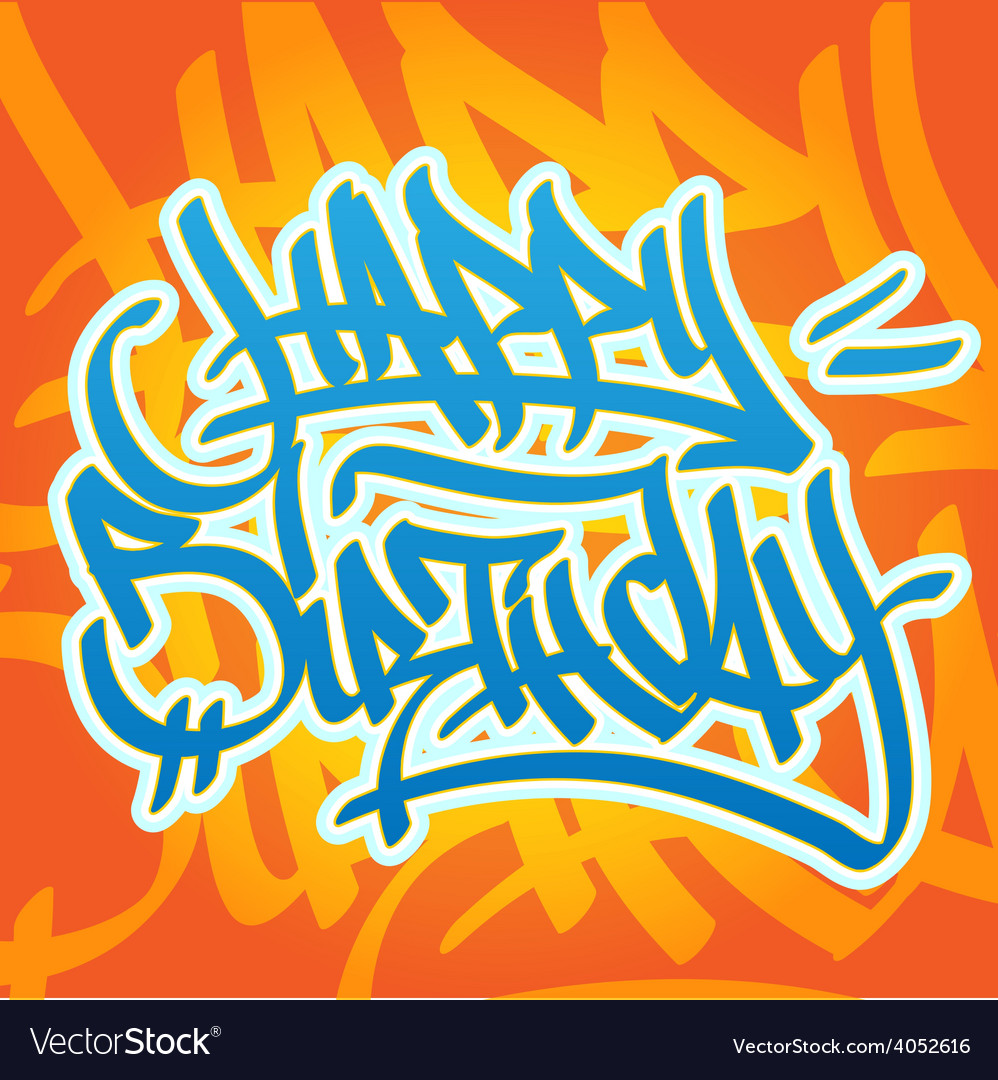 happy birthday graffiti ; happy-birthday-graffiti-vector-4052616