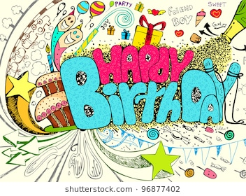 happy birthday graffiti ; illustration-colorful-happy-birthday-doodle-260nw-96877402