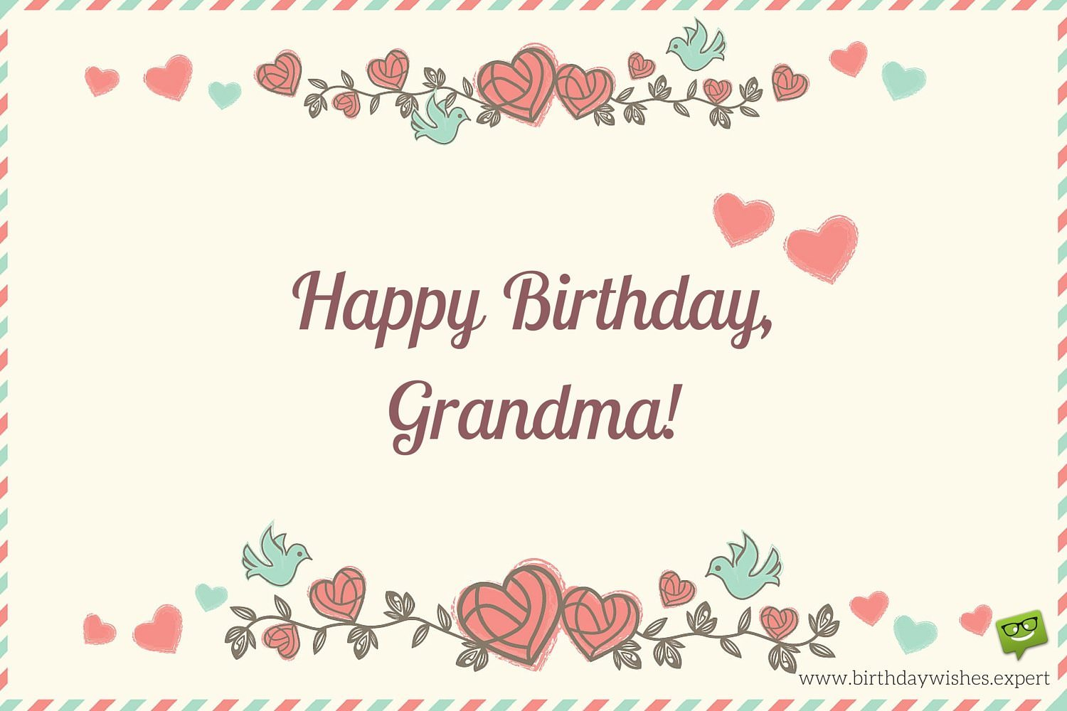 happy birthday grandmother ; Happy-Birthday-Grandma-on-image-of-an-old-envelope-with-flowers-and-cute-hearts