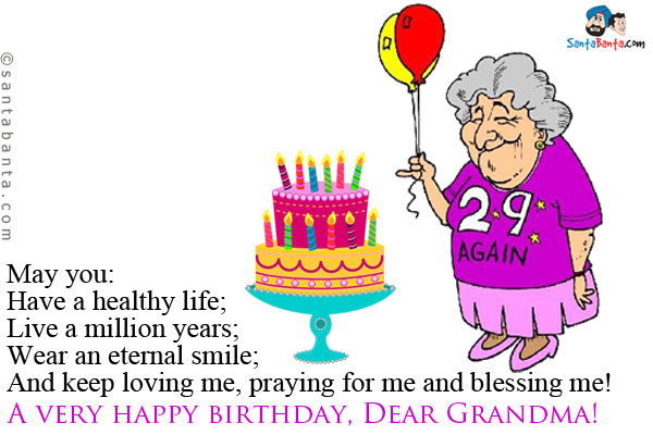 happy birthday grandmother ; sms-8382
