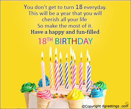 happy birthday greeting words ; turn-18-today-card